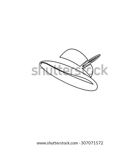 Hat with a feather. Outline black simple vector pictogram - stock vector