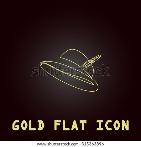 Hat with a feather. Outline gold flat pictogram on dark background with simple text.Vector Illustration trend icon - stock vector