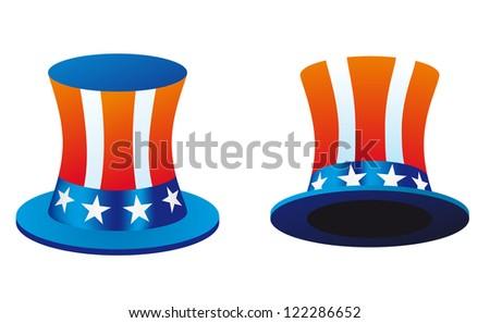 Hat with american flag theme - stock vector