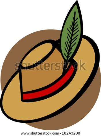 hat with feather - stock vector