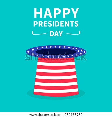 Hat with stars and strip. Presidents Day background flat design Vector illustration - stock vector