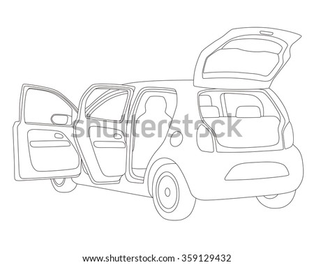 hatch back vehicle that open doors and rear hatch, line drawing illustration