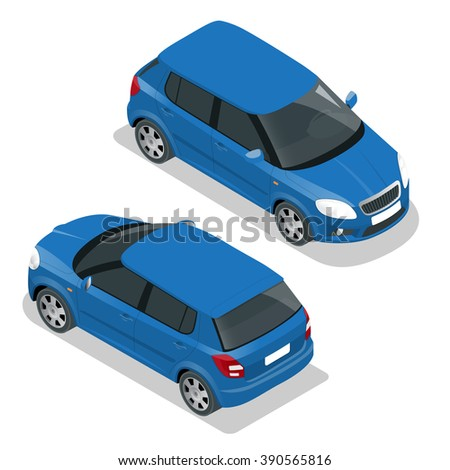 Hatchback car. Flat 3d vector isometric illustration. High quality city transport icon.  - stock vector