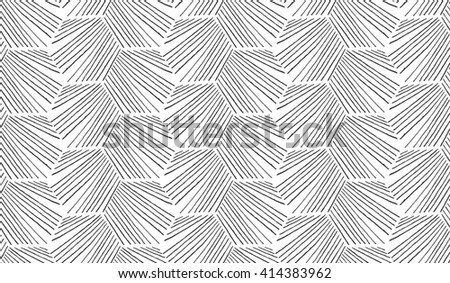 Hatched diagonally hexagonal shapes.Black and white simple hatched geometrical pattern.Hand drawn with ink seamless background.Modern hipster style design. - stock vector