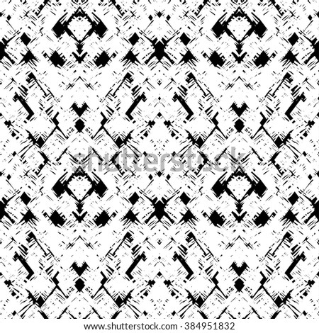 Hatched hand drawn doodle black and white seamless pattern in vector. Trendy abstract black and white textured background, line art wallpaper. Modern graphic print design - stock vector
