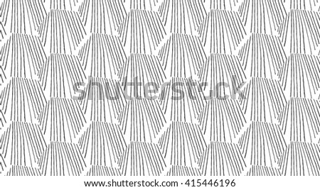 Hatched hexagonal shapes on white.Black and white simple hatched geometrical pattern.Hand drawn with ink seamless background.Modern hipster style design. - stock vector