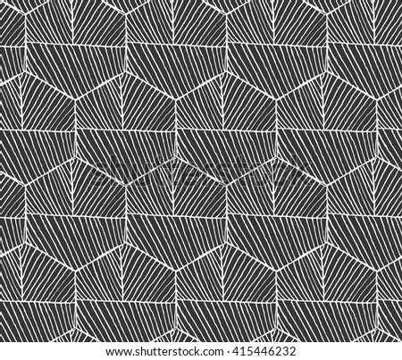 Hatched hexagons with seam horizontal on black.Black and white simple hatched geometrical pattern.Hand drawn with ink seamless background.Modern hipster style design. - stock vector
