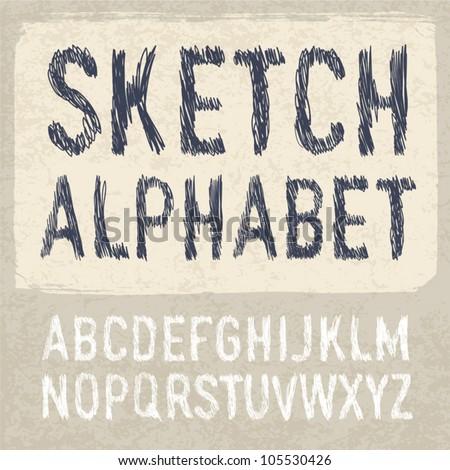 Hatching Alphabet Symbols Set. Vector, EPS 10. - stock vector