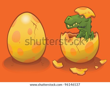 Hatching Baby T Rex - vector - stock vector