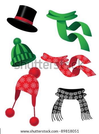 Hats and scarves A collection of fun hats and scarves. EPS 8 vector, grouped for easy editing. - stock vector