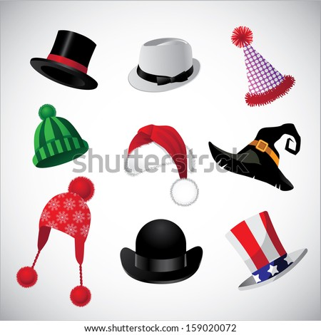 Hats collection. A set of fun hats. EPS 10 vector, grouped for easy editing. No open shapes or paths. - stock vector