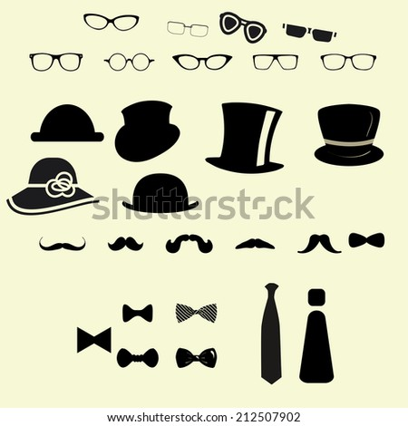Hats glasses  mustaches and tie bows - stock vector