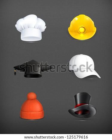 Hats set, vector - stock vector