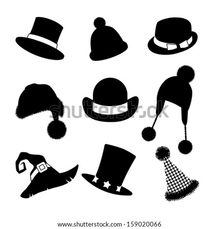 Hats silhouettes collection. A set of fun hats. EPS 10 vector, grouped for easy editing. No open shapes or paths. - stock vector