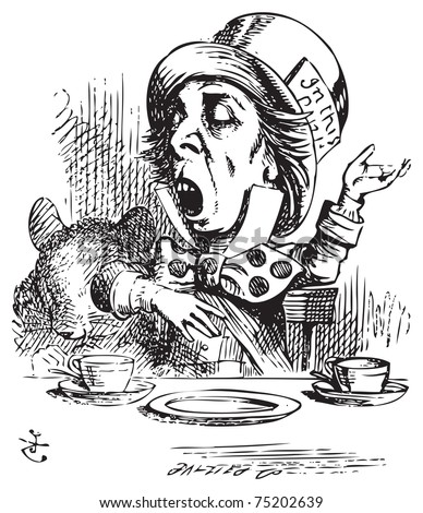 Hatter engaging in rhetoric. Mad Hatter is telling a story to Alice and his friends. Alice in Wonderland original vintage engraving. Alice's Adventures in Wonderland. Illustration from John Tenniel - stock vector