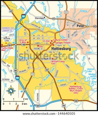 Hattiesburg Mississippi Area Map Stock Vector 144640505 - Shutterstock