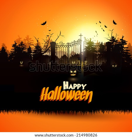 Haunted graveyard in the woods - Halloween greeting card - stock vector