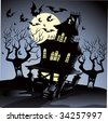 Haunted House Halloween - stock vector