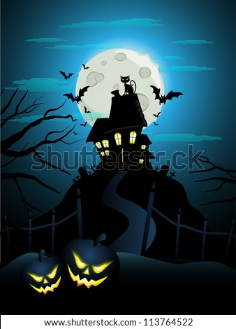Haunted house on a hill for Halloween. - stock vector