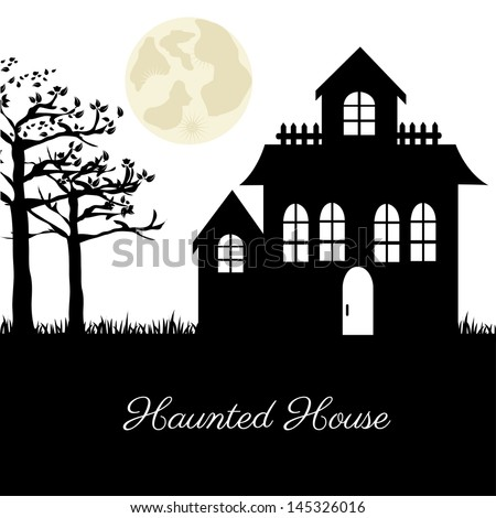 haunted house over terrifying landscape background vector illustration - stock vector