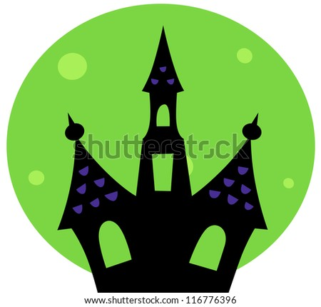 Haunted house silhouette. Vector cartoon Illustration - stock vector
