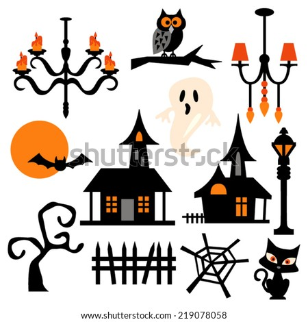 haunted house theme vector clip art stock vector 219078058 rh shutterstock com haunted house vector free download haunted house vector free download