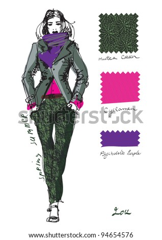 Haute couture. A sketch of a fashion model. - stock vector