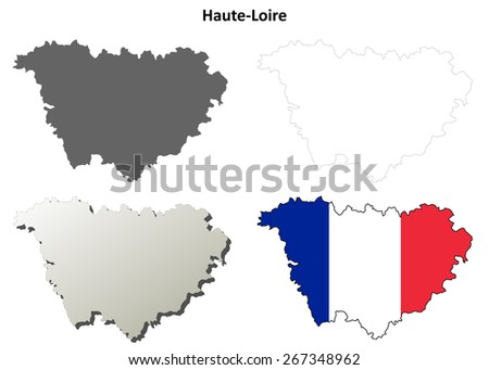 Haute-Loire (Auvergne) outline map set