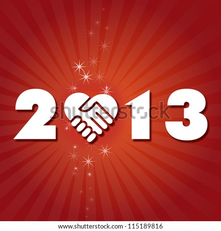 Have a friendly and lovely New Year 2013 Happy new year's eve with shaking hand heart icon - stock vector
