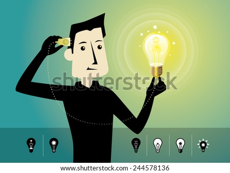 Have a good idea.Brainstorming. - stock vector