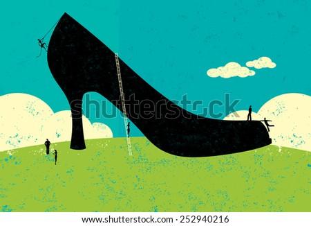 Having big shoes to fill Business people trying to figure out how to fill the very large shoes of their former leader. The people and shoe are on a separate labeled layer from the background.  - stock vector