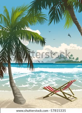 Hawaii beach. Vector illustration of the tropical beach. - stock vector
