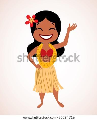 Hawaii hula girl - stock vector