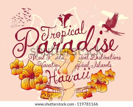 hawaii paradise girls - stock vector
