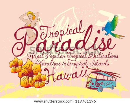 hawaii paradise girls - stock vector