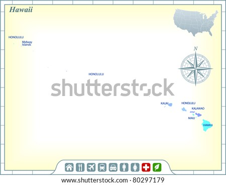 Hawaii State Map with Community Assistance and Activates Icons Original Illustration - stock vector