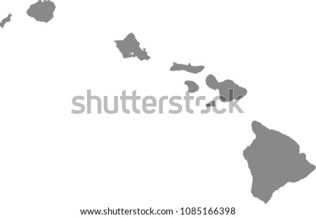 Hawaii State USA Map Vector Outline Stock Vector HD (Royalty Free ...