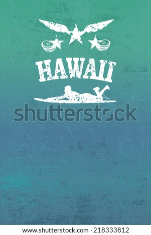 hawaii surf grunge poster - stock vector
