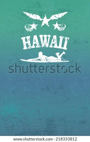 hawaii surf grunge poster - stock vector