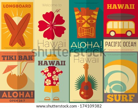 Hawaii Surf Retro Posters Collection in Flat Design Style. Vector Illustration. - stock vector