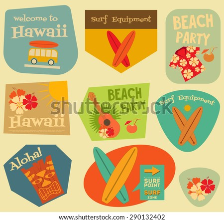 Hawaii Surf Stickers Collection in Flat Design Style. Layered file. Vector Illustration. - stock vector