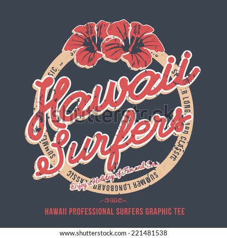 Hawaii surfers tshirt graphic vector illustration stock for Hawaiian graphic t shirts