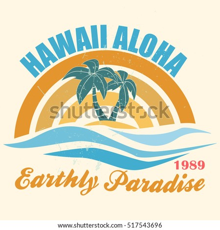 Hawaii Vector Illustration Vintage Graphic Style Stock ...