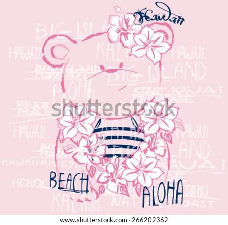 Hawaiian Cute Bear.Vector artwork for baby girl tees - stock vector