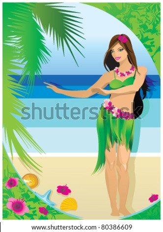 Hawaiian girl - stock vector