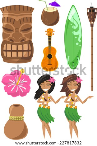 Hawaiian, Hawaii Set with ti ki, god, hula dancer, board, surf board, ukulele, coconut. Vector illustration cartoon. - stock vector