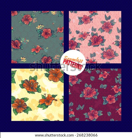 Hawaiian hibiscus seamless pattern set. Aloha Seamless Background Pattern set on wooden background. - stock vector