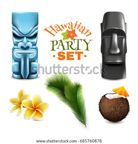 Hawaiian Party Set Of Isolated Tin God Idols Coconut And Tropical Plant Images On Blank Background