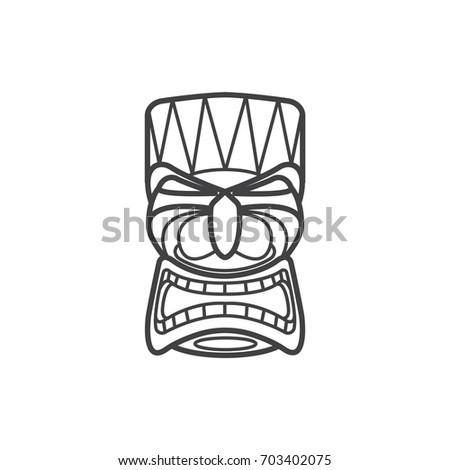 hawaiian tiki mask icon stock vector royalty free 703402075
