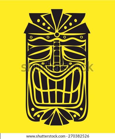 Hawaiian tiki mask vector design, exotic polynesian decorative element - stock vector